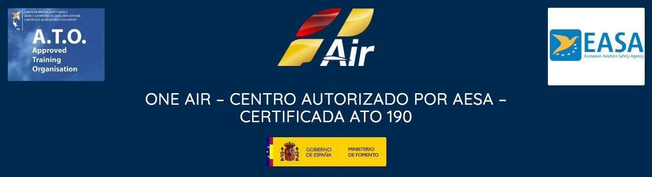 logo de oneair aviacion con los logos de easa Ato y gobierno de spain