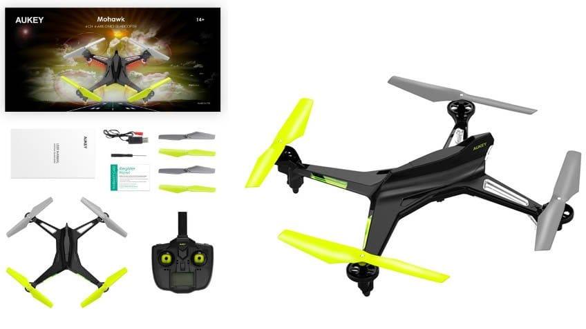 dron aukey mohawk con componentes sobre fondo blanco