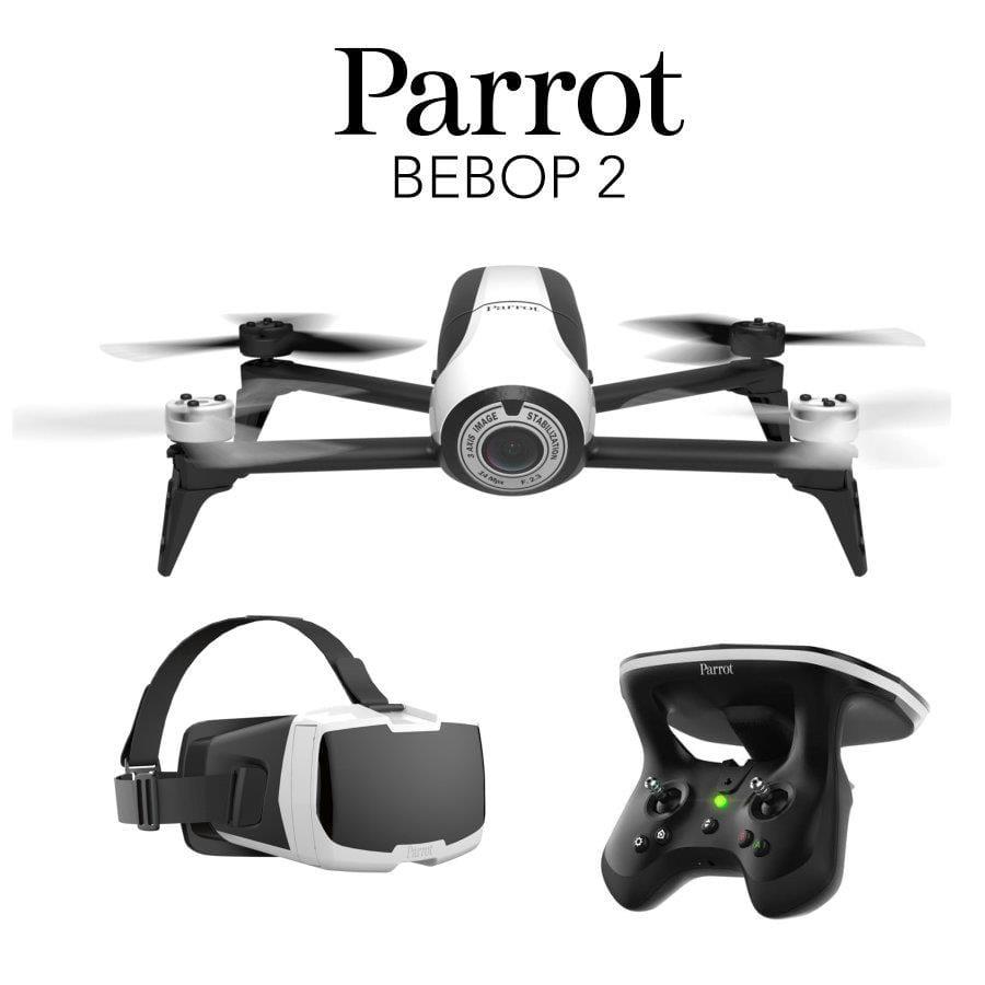 dron parrot bebop 2, gafas vr y emisora de control sobre fondo blanco