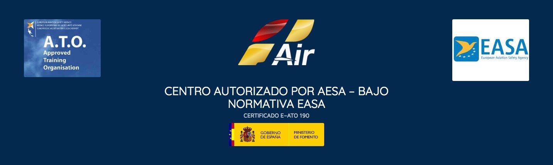 logo de la empresa oneair aviacion, logos de easa, logo de la organizacion de centros de entrenamientos aprobados y logo del gobierno de españa