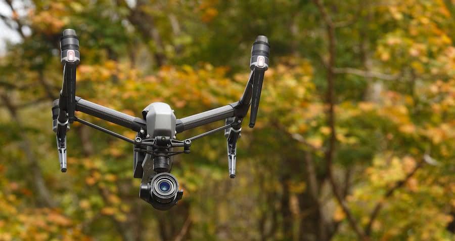 dron volando en el bosque
