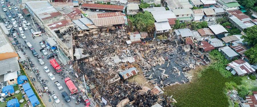 vista aerea de los efectos de un incendio