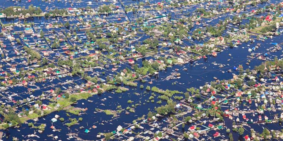 vista aerea de los efectos de las inundaciones provocadas por huracan