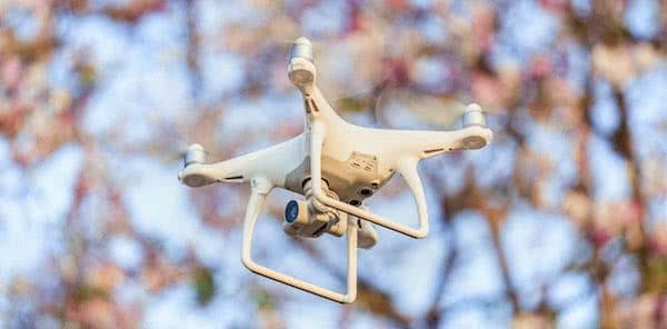 dron dji phantom 4 pro volando por el bosque