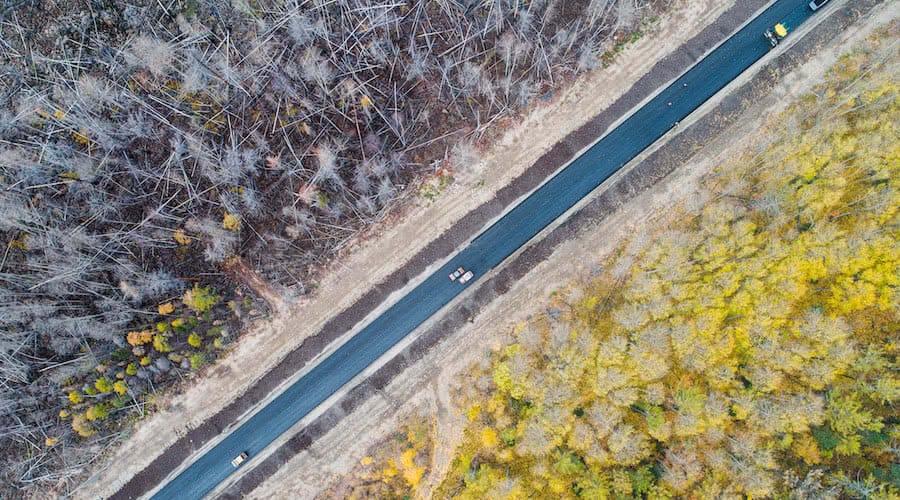 vista aerea de carretera con bosque quemado a un lado y bosque intacto al otro