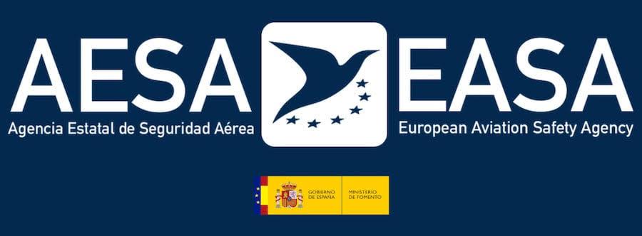 imagen con logo de easa, logo de aesa, ministerios de fomento, gobierno de espana